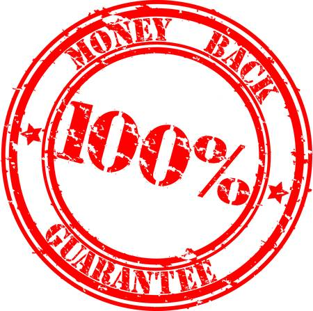 money back: Grunge  100 percent money back guarantee rubber stamp, illustration