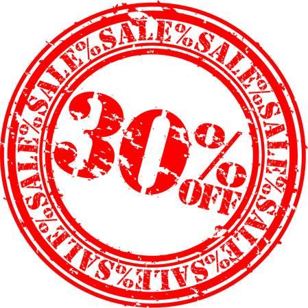 Grunge 30 percent sale off rubber stamp, illustration