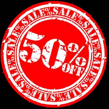 Grunge 50 percent sale off rubber stamp, illustration  Vector