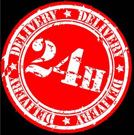 Grunge 24 hours delivery rubber stamp, illustration Vector