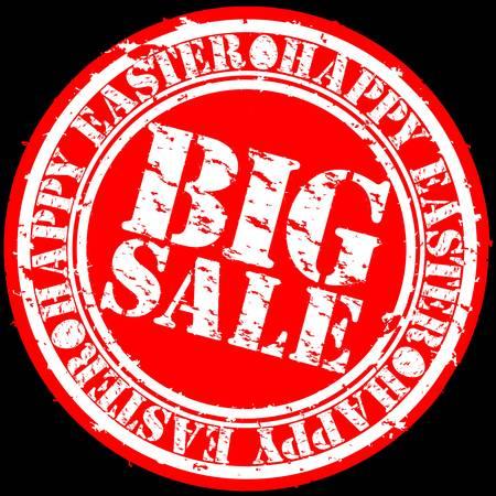 Grunge happy easter big sale rubber stamp, vector illustration Stock Vector - 12484916