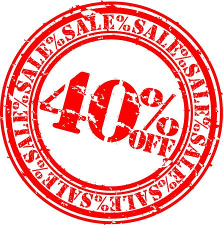 40: Grunge 40 percent sale off rubber stamp, vector illustration