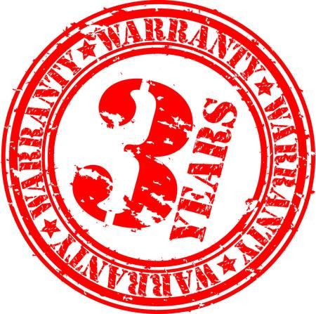 Grunge 3 years warranty rubber stamp, vector illustration