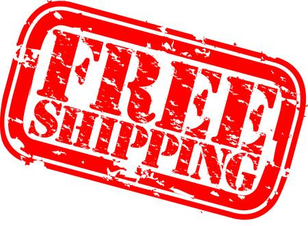 free delivery: Grunge free shipping rubber stamp, vector illustration