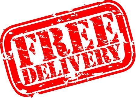 free: Grunge free delivery rubber stamp, vector illustration