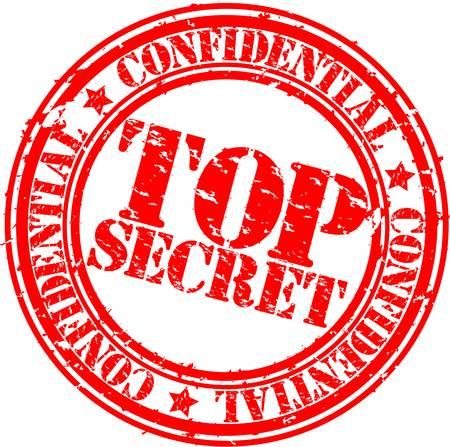 Grunge top secret stempel, vector illustratie
