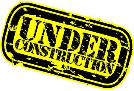 updating: Grunge under construction rubber stamp, vector illustration Illustration