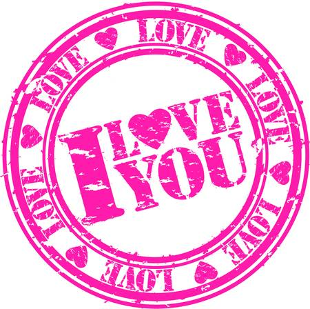 Grunge I love you rubber stamp, vector illustration Vector