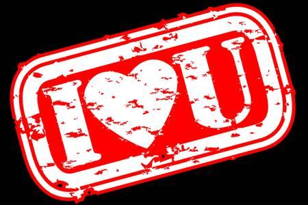 Grunge I love you rubber stamp, vector illustration Stock Vector - 12484957