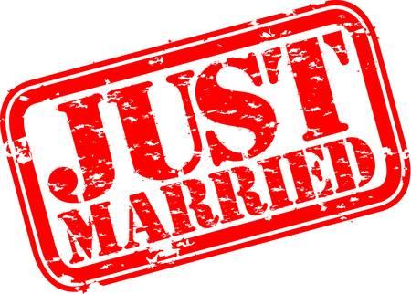 recien casados: Grunge S�lo se cas� con el sello de goma, ilustraci�n vectorial Vectores