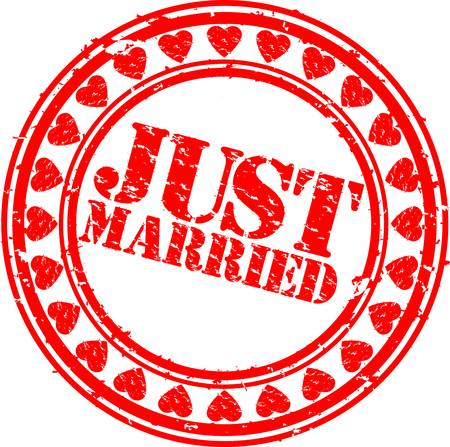 just married: Grunge S�lo se cas� con el sello de goma, ilustraci�n vectorial Vectores
