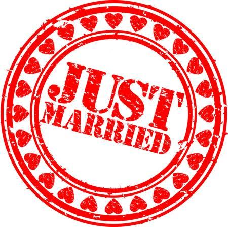 recien casados: Grunge Sólo se casó con el sello de goma, ilustración vectorial Vectores