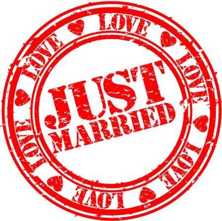 Grunge Just married stempel, vector illustratie
