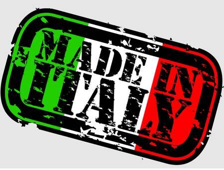 flag italy: Grunge hecho en Italia con sello de goma, ilustraci�n vectorial