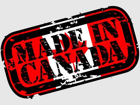 Grunge fait au Canada rubber stamp, illustration vectorielle