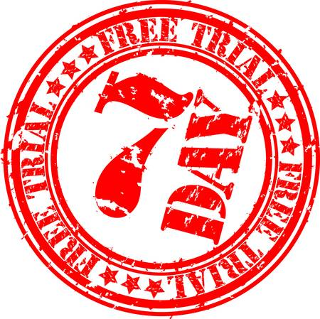 free trial: Grunge 7 day free trial rubber stamp, vector illustration