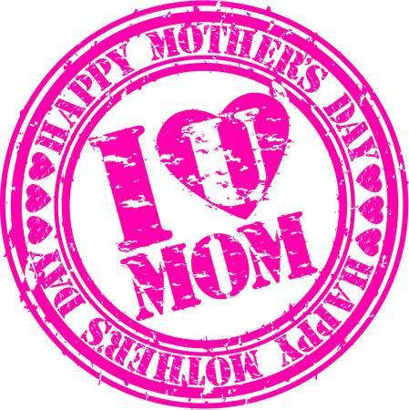 mums: Feliz madre de Grunge s sello de goma d�as, ilustraci�n vectorial