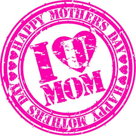 Grunge Happy mother s day rubber stamp, vector illustration Vector