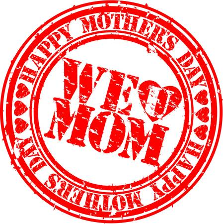 d�a s: Feliz madre de Grunge s sello de goma d�as, ilustraci�n vectorial