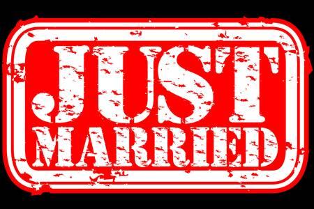 just: Grunge just married rubber stamp, vector illustration  Illustration