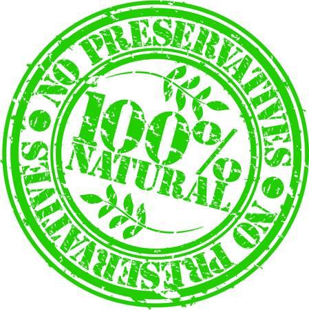 gmo: Grunge no preservatives 100 percent natural rubber stamp, vector illustration
