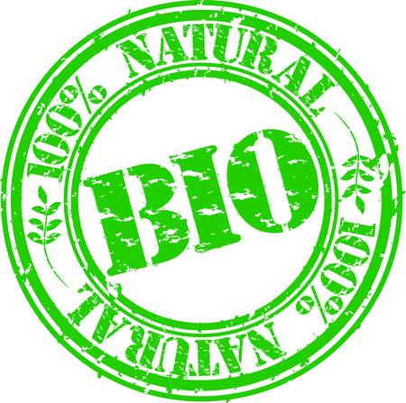 preservatives: Grunge bio 100 percent natural rubber stamp, vector illustration