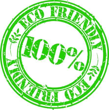 no icon: Grunge eco friendly 100 percent rubber stamp, vector illustration Illustration