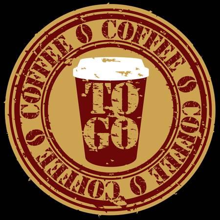 caf� � emporter: Grunge aller timbre tasse de caf�, illustration vectorielle