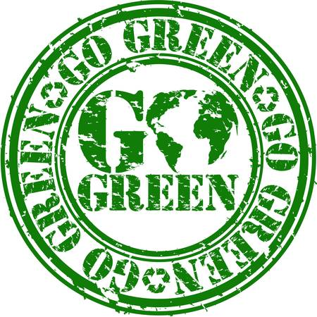 Grunge go green rubber stamp, vector illustration Stock Vector - 12807472