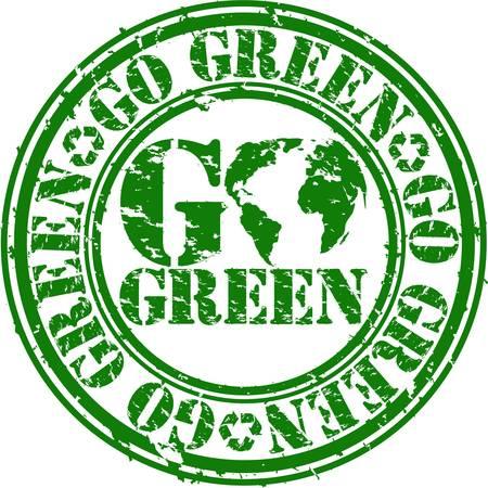 go green: Grunge go green rubber stamp, vector illustration