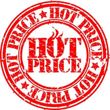 Grunge hot deal price stamp, vector illustration