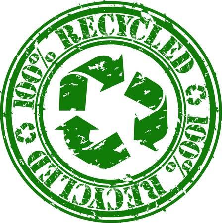 reciclable: Grunge 100 por ciento reciclado con sello de goma, ilustración vectorial
