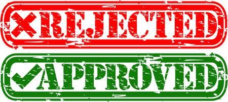 approved stamp: Grunge rechazada y aprobada sello de goma, ilustraci�n vectorial Vectores