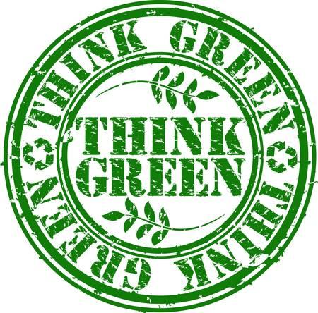 think green: Grunge creo sello de goma verde, ilustraci�n vectorial Vectores