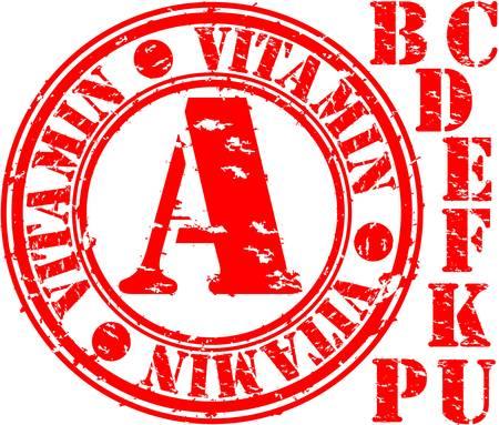 e u: Grunge vitamin set rubber stamp, vector illustration Illustration