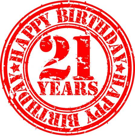 Grunge 21 years happy birthday rubber stamp, vector illustration Vector