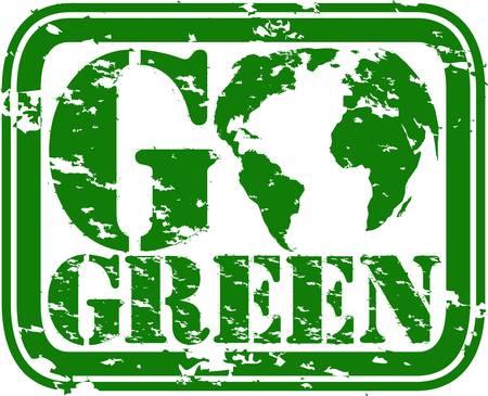 Grunge go green rubber stamp, vector illustration Stock Vector - 13008102