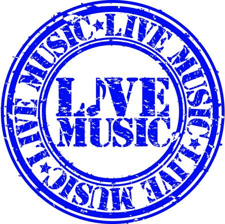 live music: Grunge live music rubber stamp, vector illustration