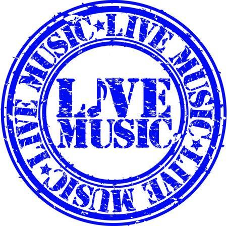 listening music: Grunge live music rubber stamp, vector illustration