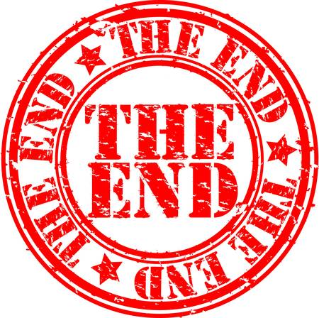 the end: Grunge the end rubber stamp, vector illustration