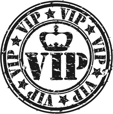 Grunge vip rubber stamp, vector illustration Vector