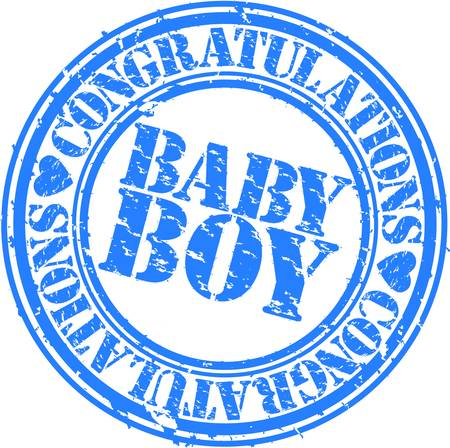Grunge baby boy rubber stamp, vector illustration Vector