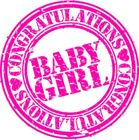 congratulations sign: Grunge baby girl rubber stamp, vector illustration