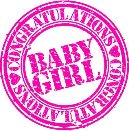 felicitaciones cumpleaÑos: Grunge bebé niña de sello de goma, ilustración vectorial