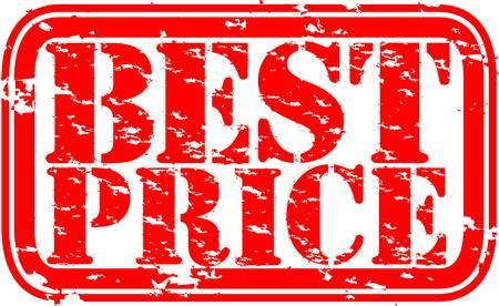 Grunge el mejor precio sello de goma, ilustración vectorial