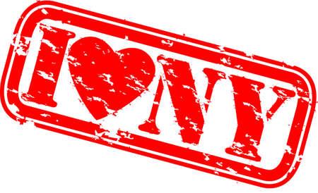 sello de goma: Grunge Me encanta Nueva York sello de goma, el vector