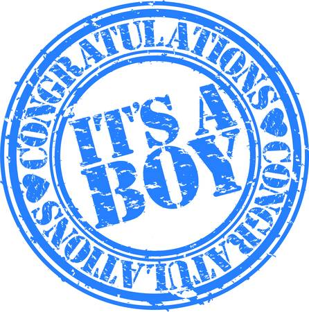 congratulations: Grunge it is boy rubber stamp, vector illustration Illustration