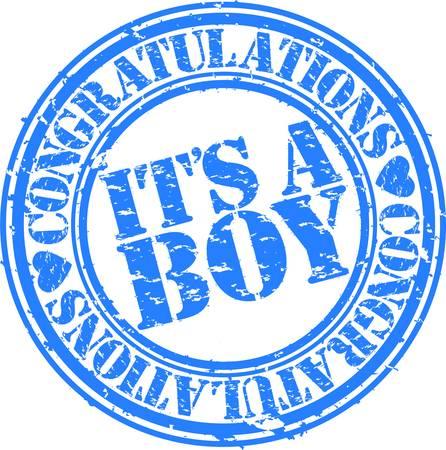 congratulate: Grunge it is boy rubber stamp, vector illustration Illustration