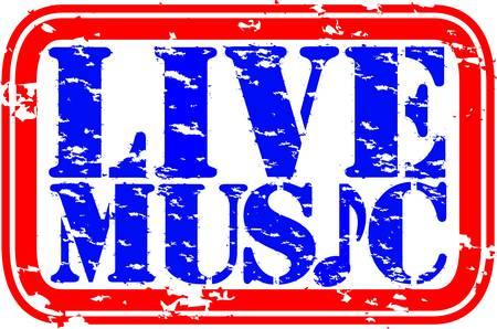 Grunge música en vivo sello de goma, ilustración vectorial