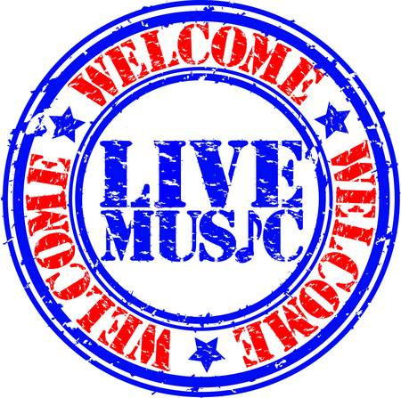 music listening: Grunge welcome live music rubber stamp, vector illustration